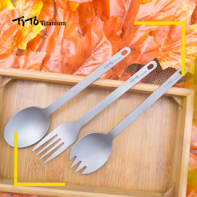 TiTo titanium camping fork titanium spoon knife combo - Canada Camp and Hike