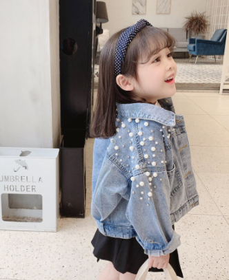 Kids Pearl Beading Denim Jacket