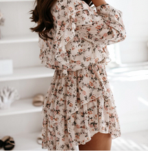 Load image into Gallery viewer, Boho Cascading Ruffle Print Dress