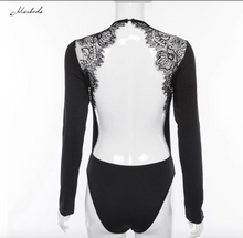 Load image into Gallery viewer, Backless Lace Patchwork Bodysuit