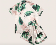 Load image into Gallery viewer, Tropical Print Satin Pajama Set