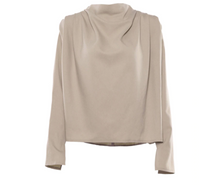 Load image into Gallery viewer, Draped Solid Khaki Chic Blouse