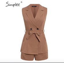 Load image into Gallery viewer, Sleeveless Blazer Vest Suit Set