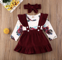 Load image into Gallery viewer, 3PC Floral Bodysuit, Suspender Skirt, and Bow Headband Outfit