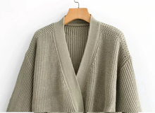 Load image into Gallery viewer, Knitted Cardigan Wrap Sweater