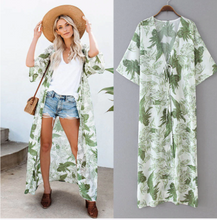 Load image into Gallery viewer, Chiffon Green Leaf Print Loose Kimono