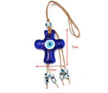 Load image into Gallery viewer, Evil Eye Cross Glass Pendant