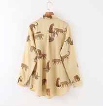 Load image into Gallery viewer, Animal Printed Collar Blouse