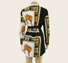 Load image into Gallery viewer, Long Sleeve Cardigan Animal Print Blouse