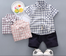 Load image into Gallery viewer, 2PCS Plaid Short T-Shirt Top+Pants Outfits