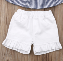 Load image into Gallery viewer, Casual Summer Stripe Top & Shorts Outfit