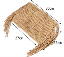 Load image into Gallery viewer, Tassels Hand Held Handmade Straw Bag