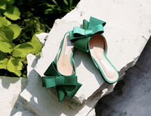 Load image into Gallery viewer, Silk Satin Pointed Bow Tie Flats