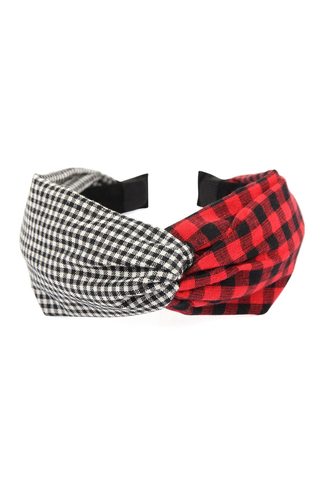 Plaid Knotted Fabric Coated Hair Band