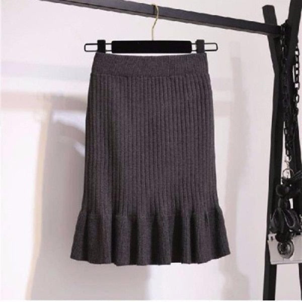 Ruffle Midi Pleated Skirt