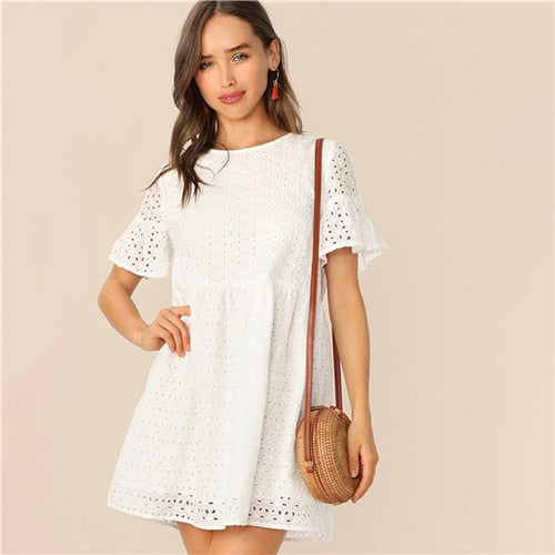 Boho Flounce Lace Dress