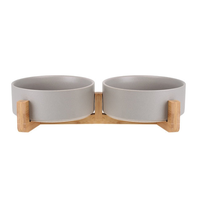 Ceramic Pet Bowl with Wood Stand