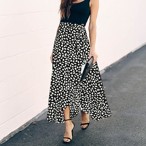 Polka Dot Print Long Maxi Skirt