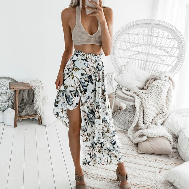 Floral Print Side Split Skirt