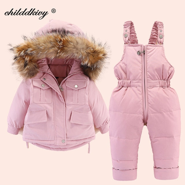 2pcs Baby Girl Winter Jacket and Jumpsuit