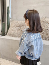 Load image into Gallery viewer, Kids Pearl Beading Denim Jacket