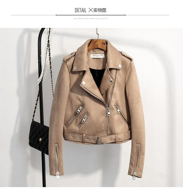 Faux Suede Motorcycle Jacket