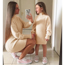 Load image into Gallery viewer, Mommy + Me Solid Knitted Sweater Dress