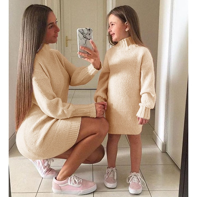Mommy + Me Solid Knitted Sweater Dress