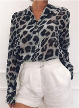 將圖片載入圖庫檢視器 Long Sleeve Leopard Work Blouse