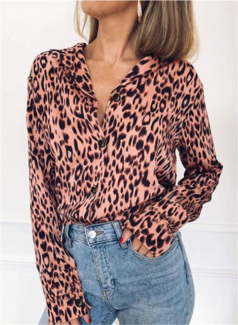 Long Sleeve Leopard Work Blouse