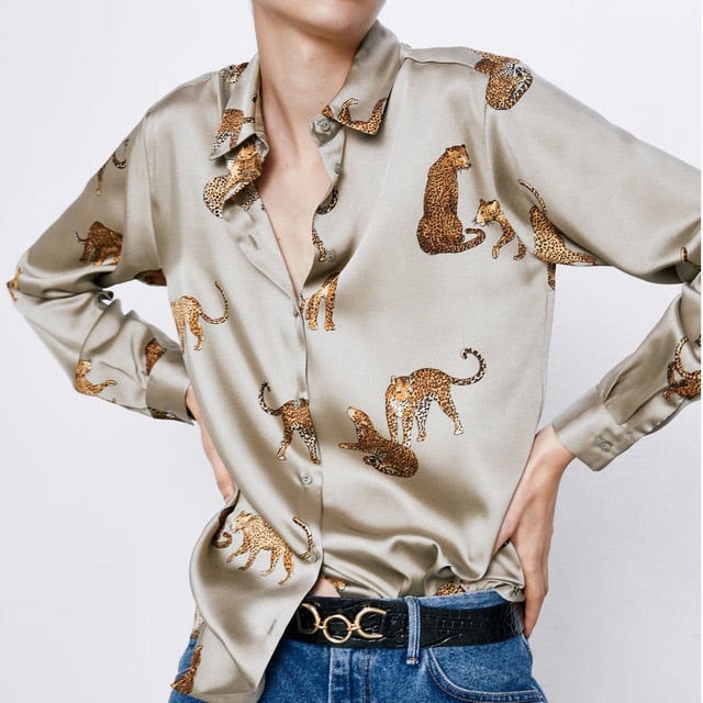 Animal Printed Collar Blouse