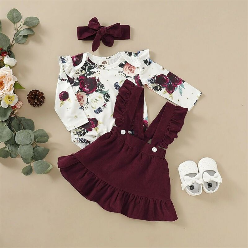 3PC Floral Bodysuit, Suspender Skirt, and Bow Headband Outfit