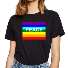Load image into Gallery viewer, Peace, Love, Rainbow Pride Shirt