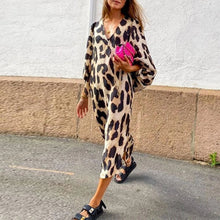 Load image into Gallery viewer, Loose Lantern Sleeve Leopard Maxi