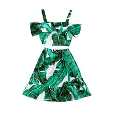 Load image into Gallery viewer, Kids Off-Shoulder Banana Leaf Two Piece
