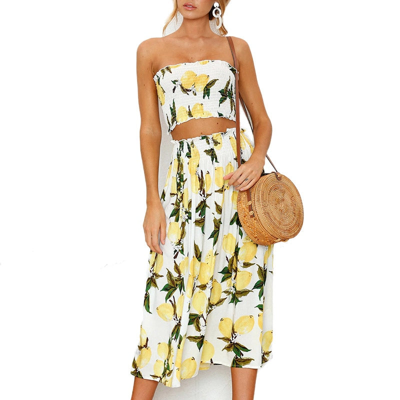 Two-Piece Strapless Printed Maxi Sundress