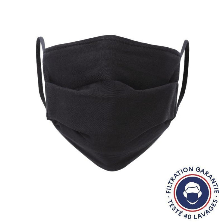 Lot de 2 masques lavables noirs - Grand public UNS 1