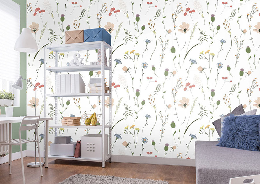 a home office featuring bergen peel and stick wallpaper