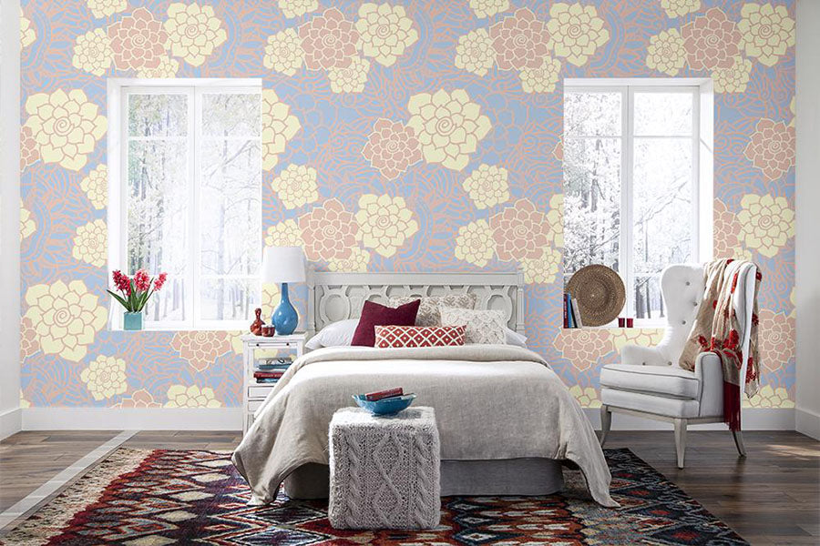 a bedroom featuring camden peel and stick wallpaper