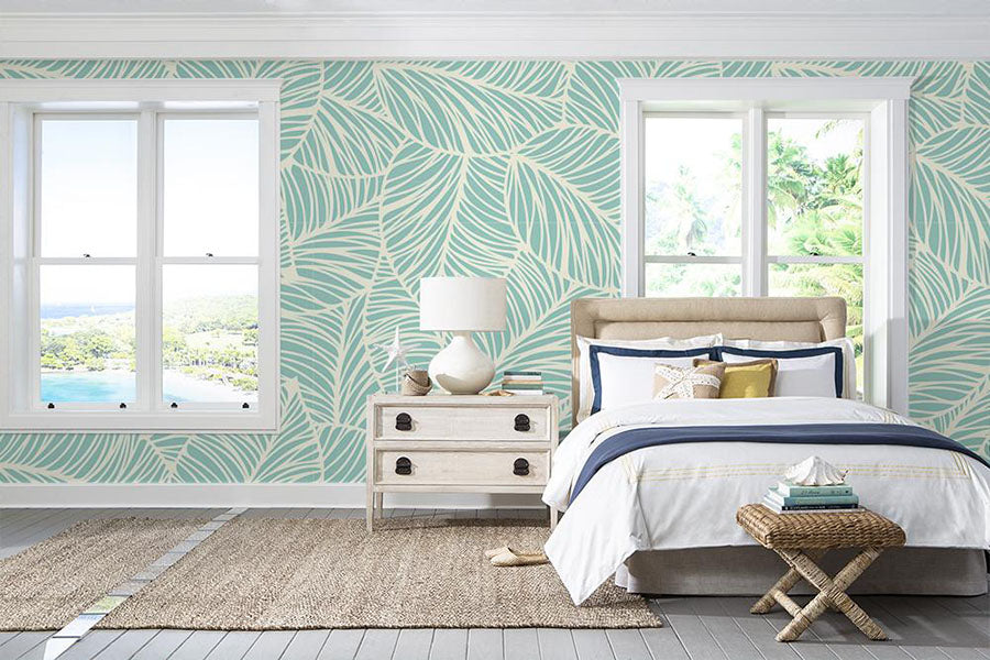 a bedroom featuring edgemont peel and stick wallpaper