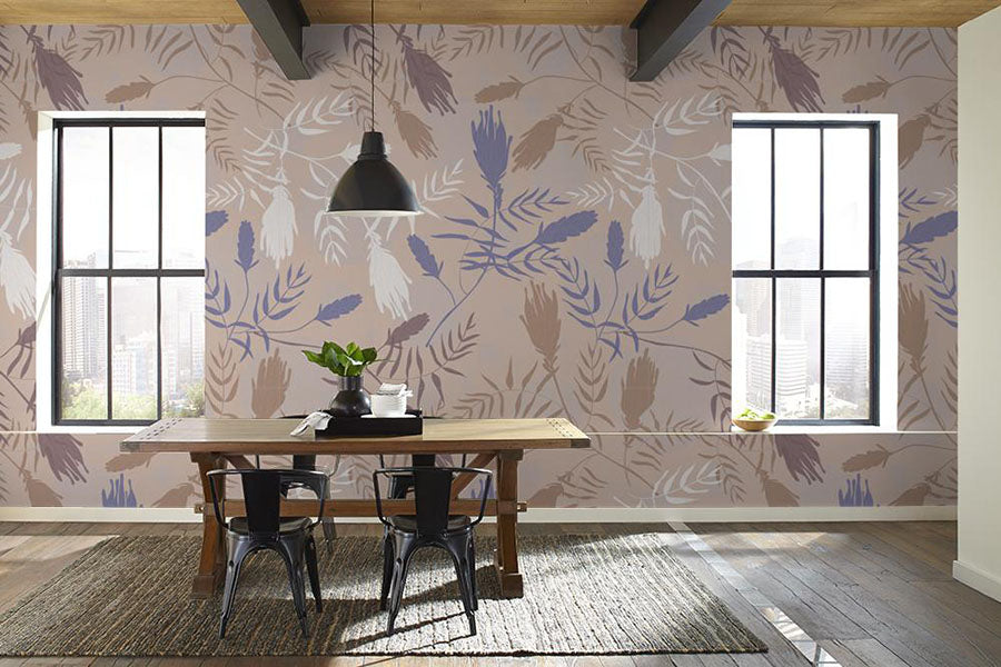 a dining room featuring waverly peel and stick wallpaper