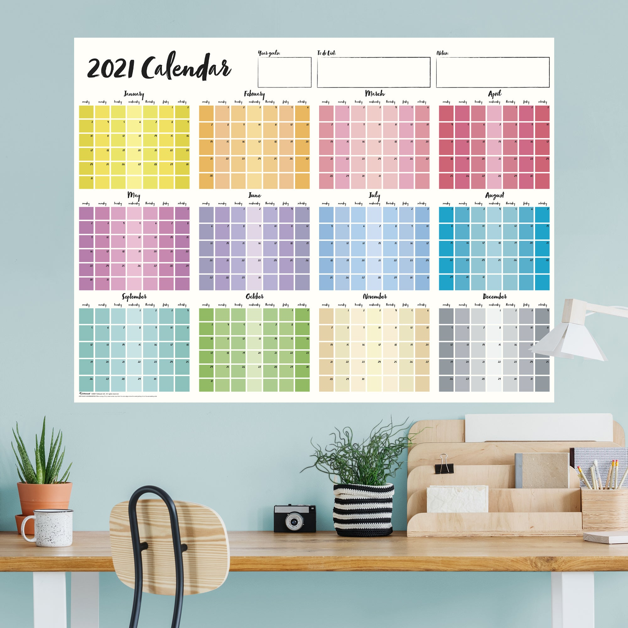 """2021 MULTI-COLOR Dry Erase Calendar - Removable Wall Decal Giant Decal ( 54"""" W x 40"""" H) by Fathead   Vinyl"""