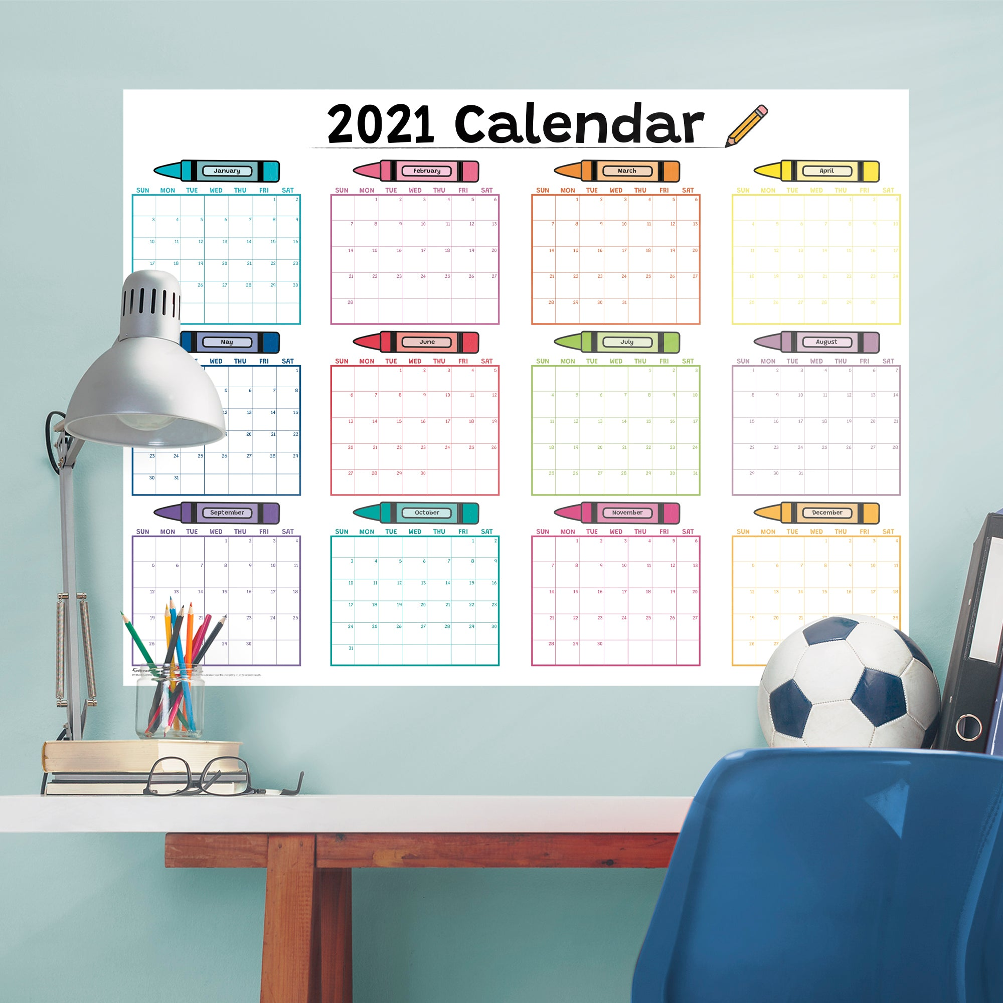 """2021 CRAYON Dry Erase Calendar - Removable Wall Decal Giant Decal ( 54"""" W x 40"""" H) by Fathead   Vinyl"""