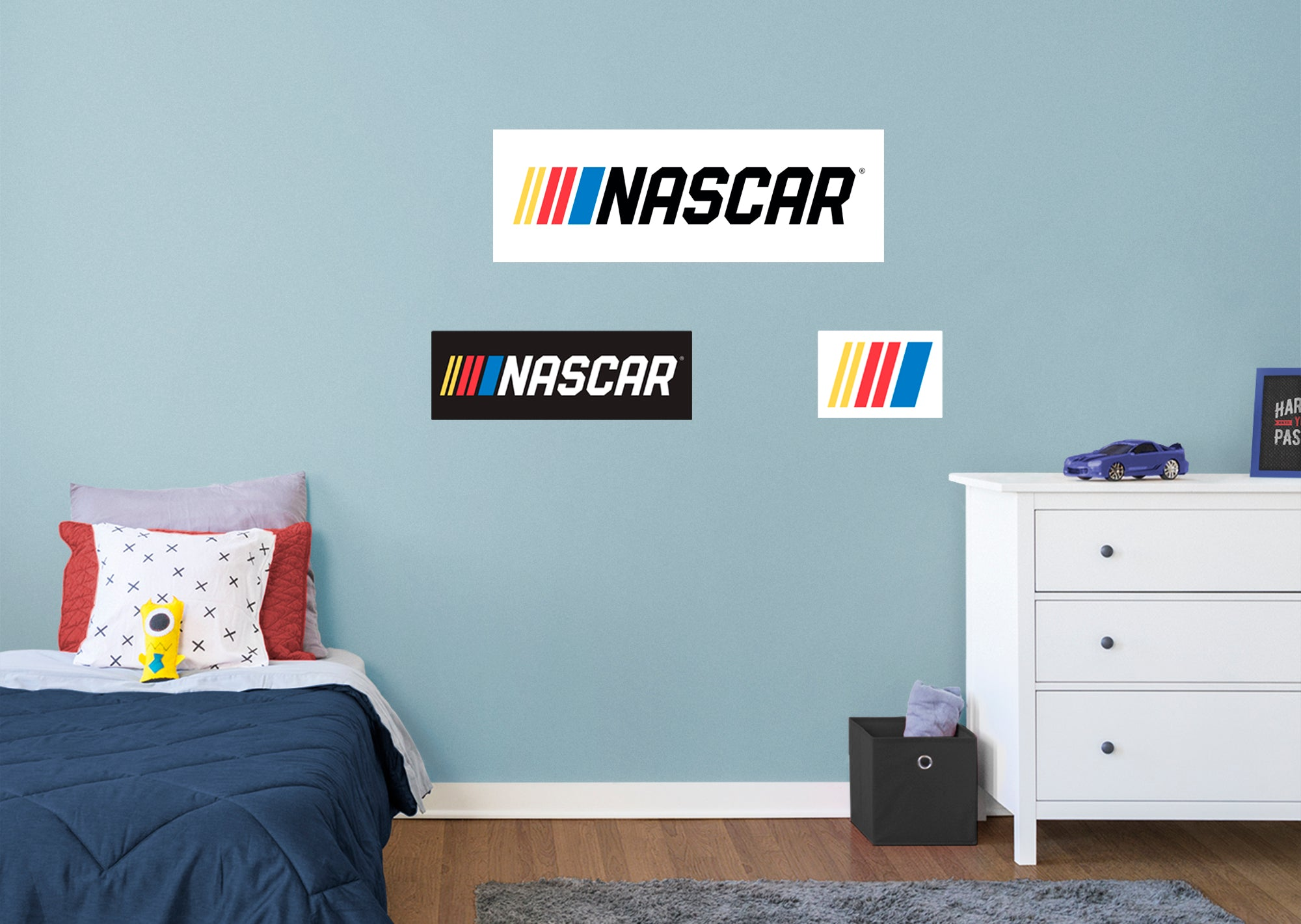 """2021 Bar Logo - Officially Licensed NASCAR Removable Wall Decal Giant Logo + 2 Decals (51""""W x 17""""H) by Fathead   Vinyl"""