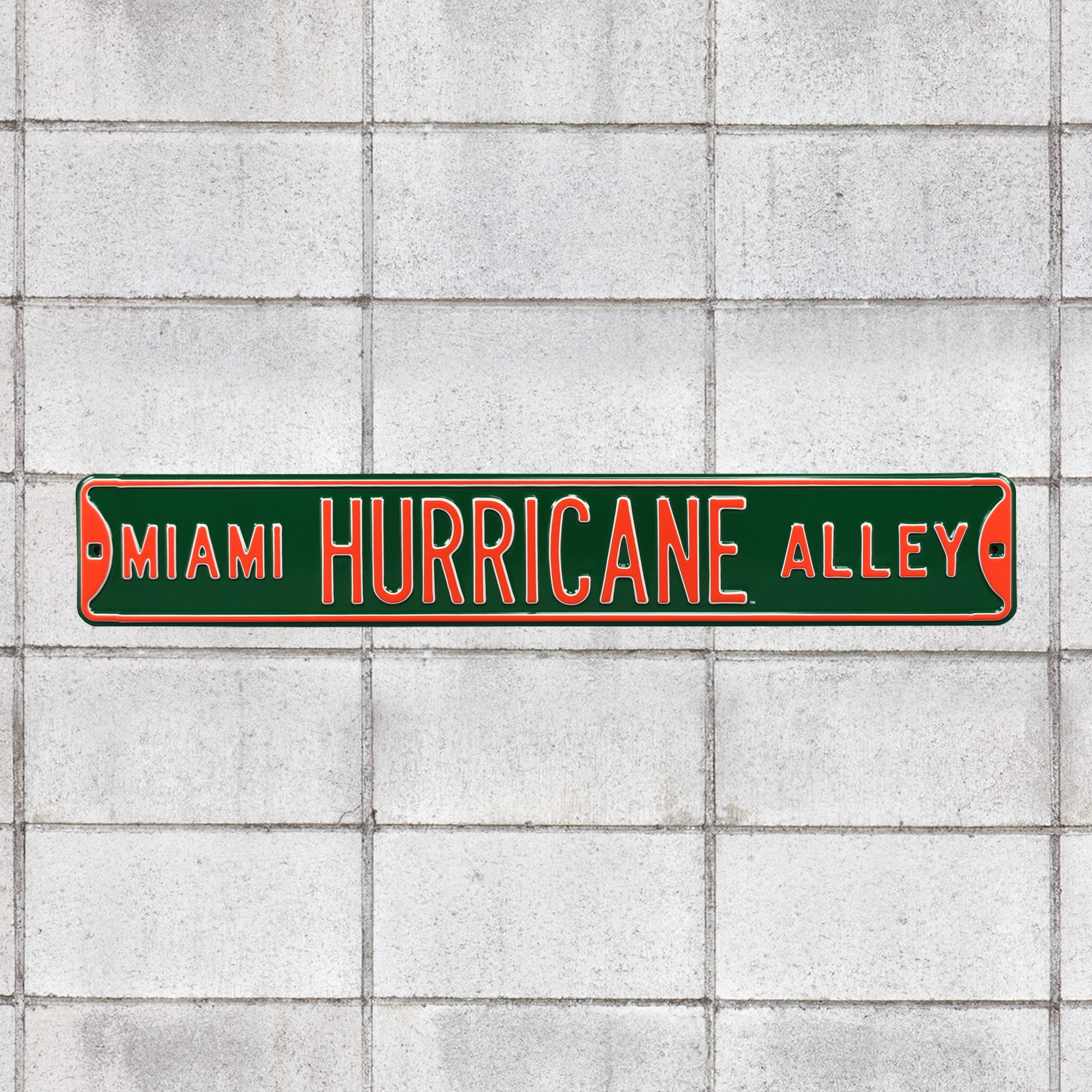"""Miami Hurricanes: Hurricane Alley Parking - Officially Licensed Metal Street Sign 36.0""""W x 6.0""""H by Fathead 
