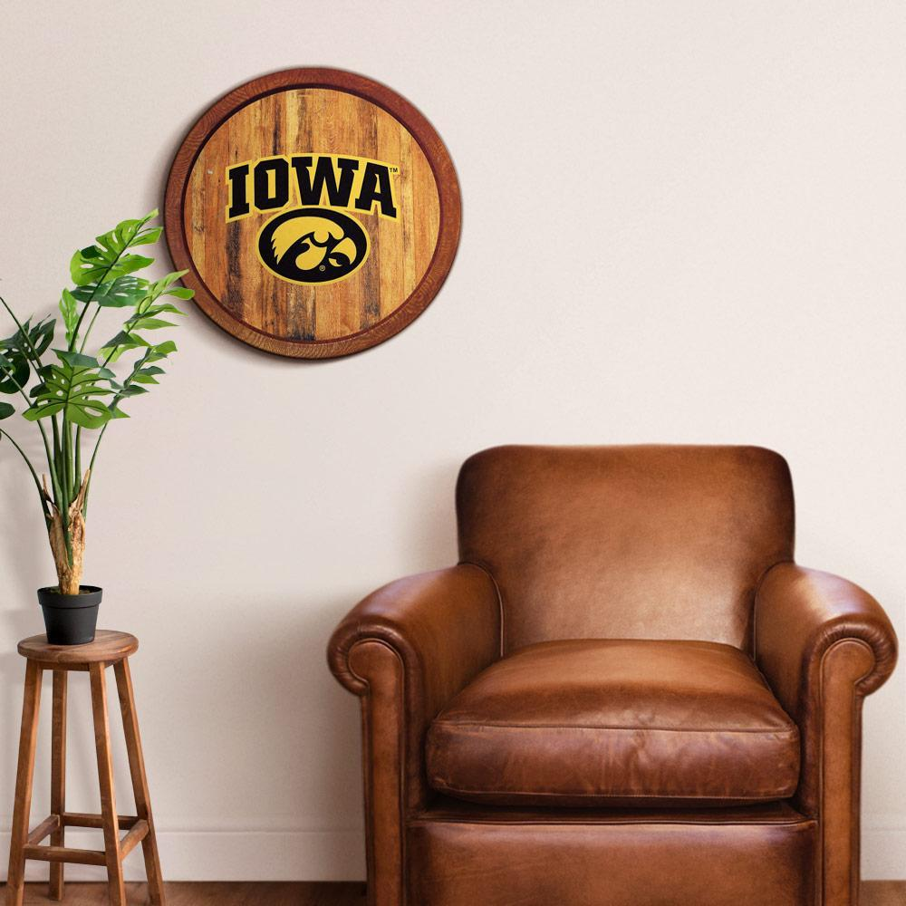 """Iowa Hawkeyes: Round Officially Licensed """"Faux"""" Barrel Top Sign 20.25""""x20.25"""" by Fathead   Wood"""