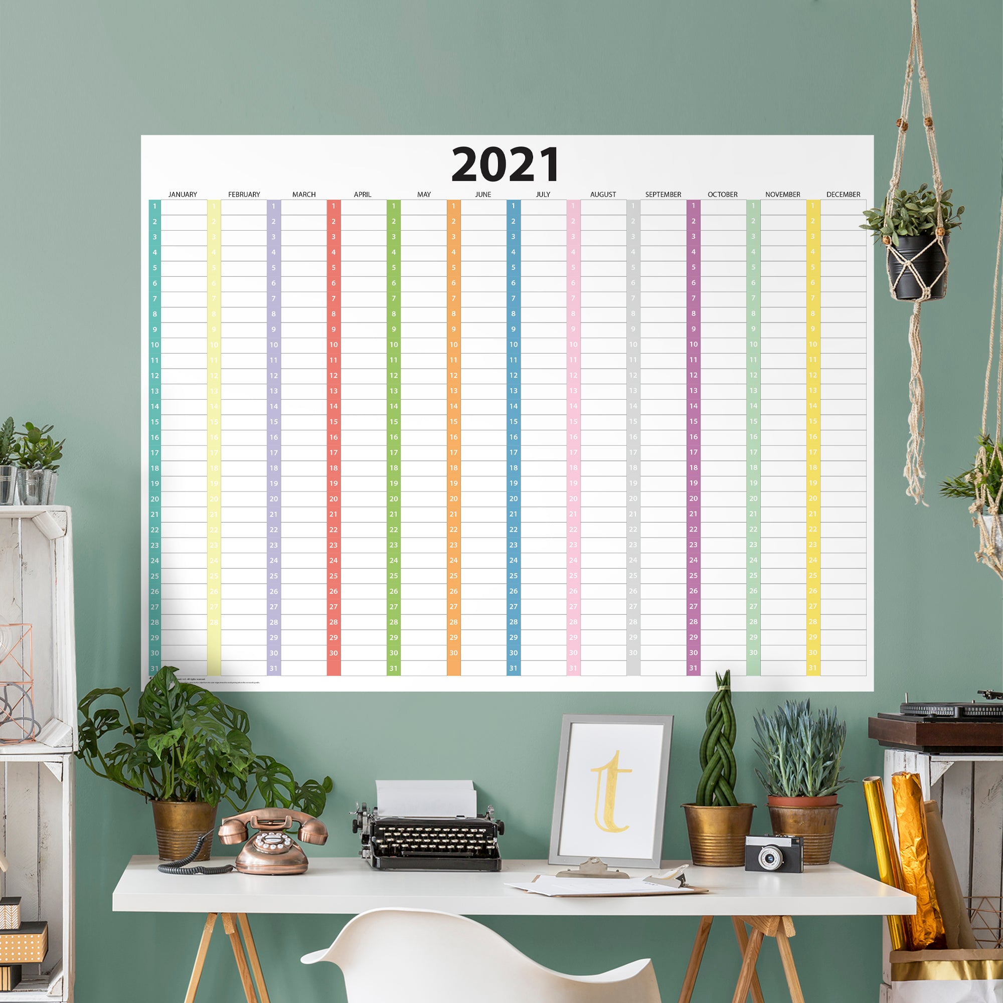 """2021 COLUMN Dry Erase Calendar - Removable Wall Decal Giant Decal ( 54"""" W x 40"""" H) by Fathead   Vinyl"""