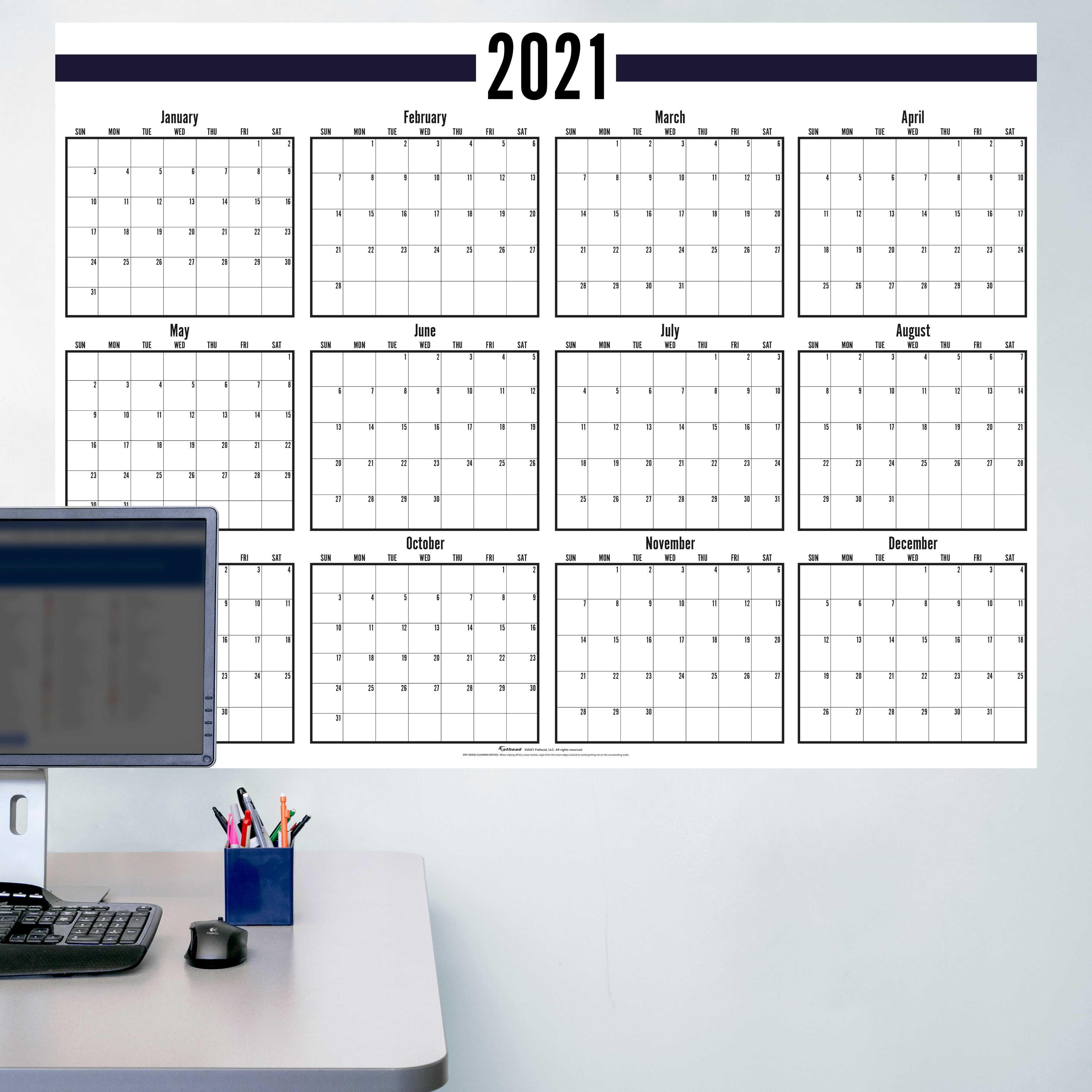 """2021 BLACK and WHITE Dry Erase Calendar - Removable Wall Decal Giant Decal ( 54"""" W x 40"""" H) by Fathead   Vinyl"""