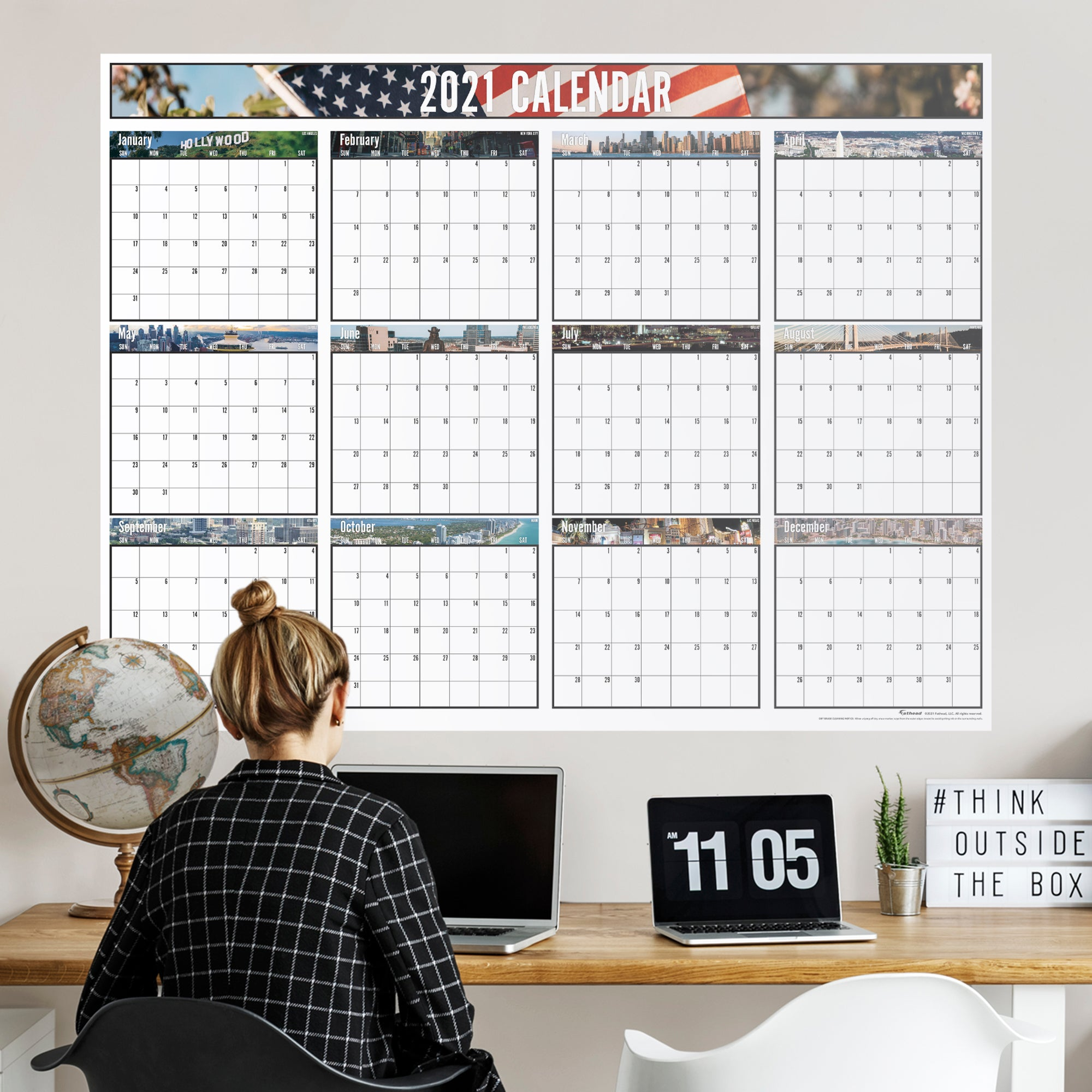 """2021 CITIES Dry Erase Calendar - Removable Wall Decal Giant Decal ( 54"""" W x 40"""" H) by Fathead   Vinyl"""