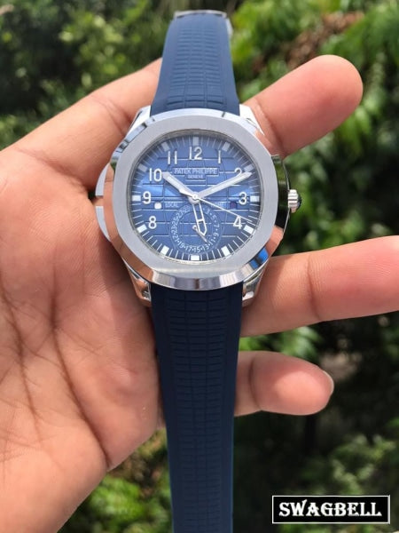 PATEK PHILIPPE NAUTILUS RUBBER STRAP BLUE STEEL SWISS AUTOMATIC WATCH